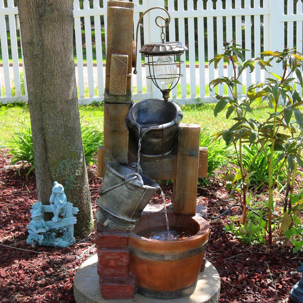 Sunnydaze Rustic Pouring Buckets Outdoor Water Fountain with Solar Lantern, 34 Inch Tall