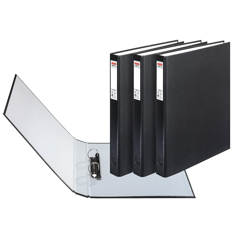 Herlitz max.file Protect - Paquete de 3 archivadores con anillas A4, negro: Amazon.es: Oficina y papelería