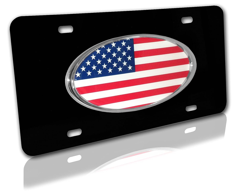Elektroplate American Flag Black Metal Chrome License Plate