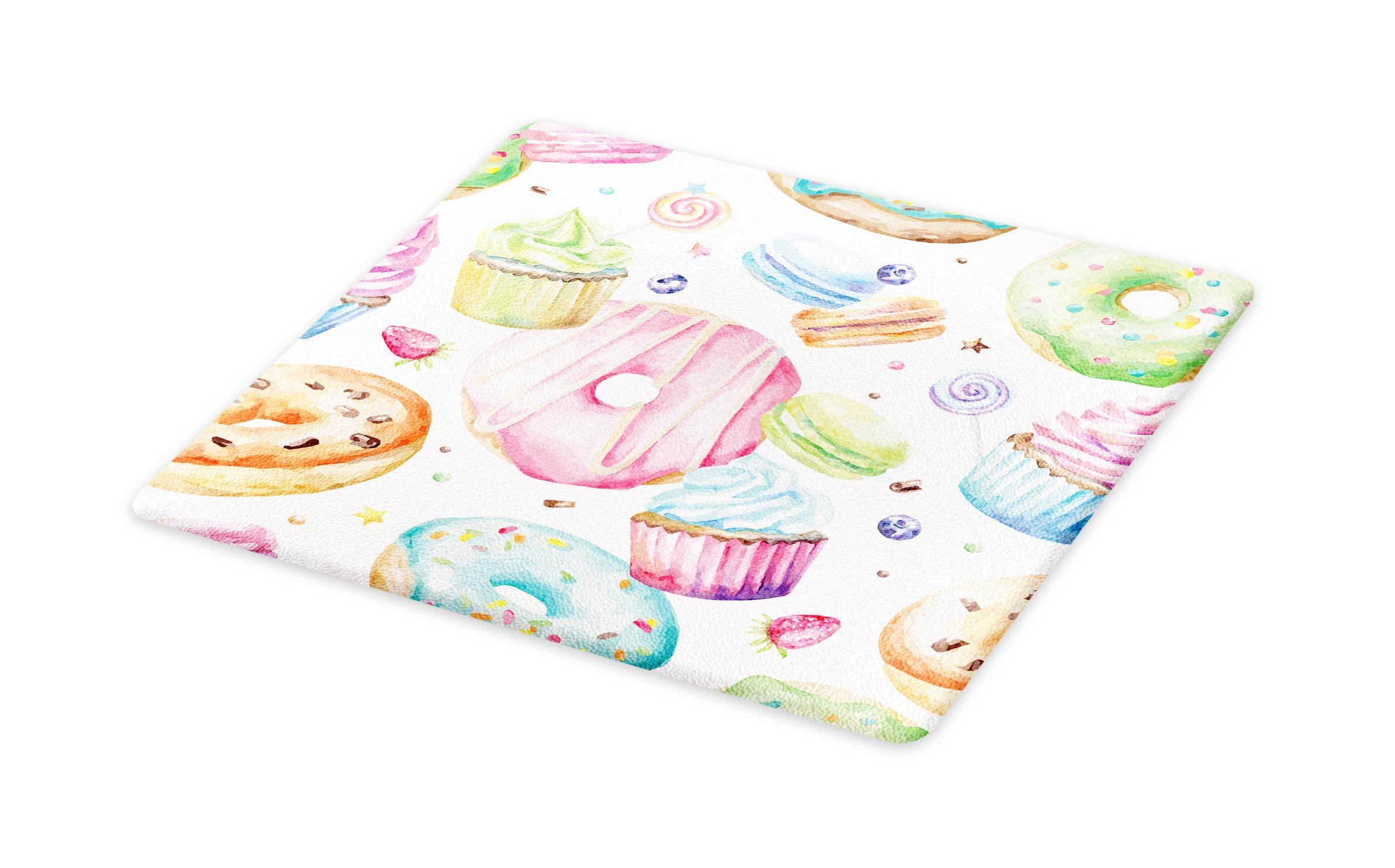 Lunarable Sweets Cutting Board, Delicious Macaron Cupcakes Donuts Muffins Sugar Tasty Yummy Watercolor Design Print, Decorative Tempered Glass Cutting and Serving Board, Large Size, Green Pink by Lunarable