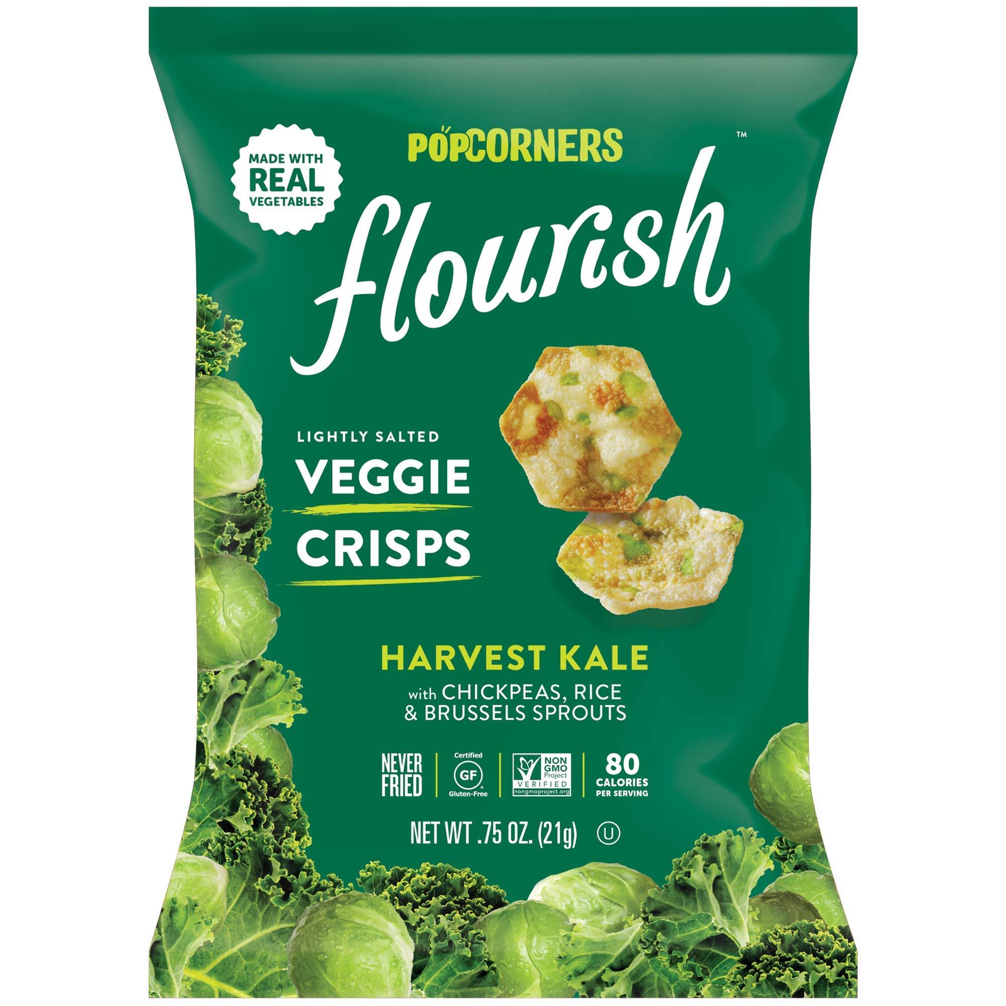 PopCorners Flourish Harvest Kale Veggie Crisps | Plant-Based Protein, Gluten Free Snacks | (24 Pack, .75 oz Snack Bags) by Popcorners