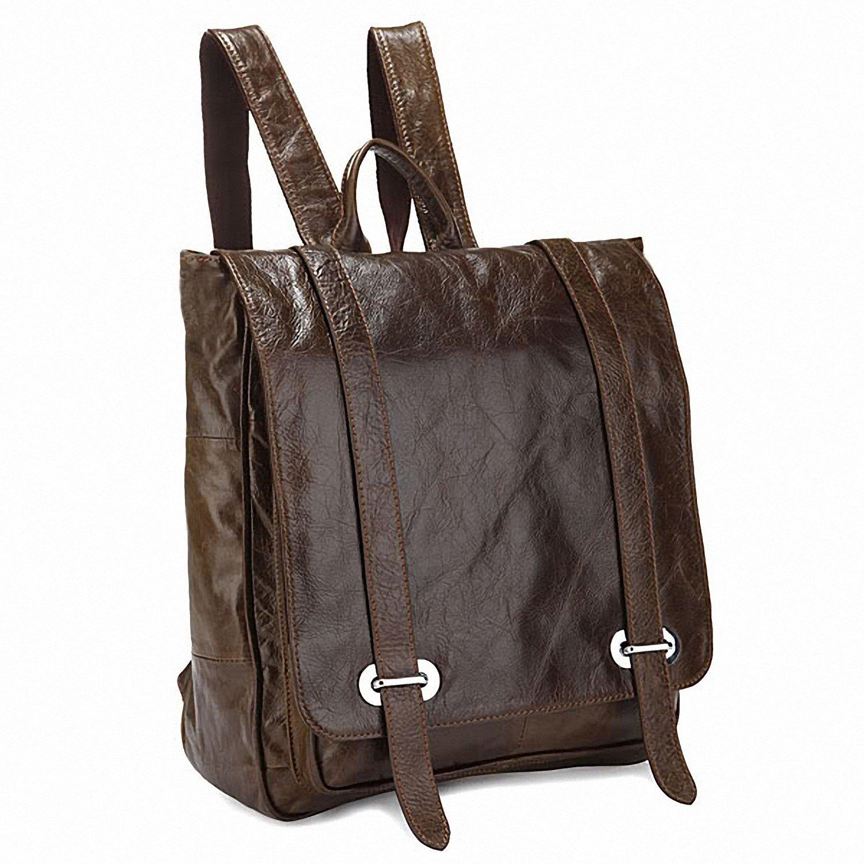 Tom Clovers Genuine Leather Unisex Leisure Handbag Backpack Coffee by Tom Clovers (Image #3)