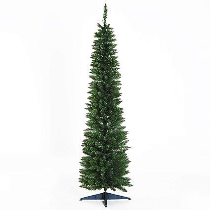 HOMCOM 6' PVC Hinged Unlit Slim Artificial Christmas Tree - Green - Amazon.com: HOMCOM 6' PVC Hinged Unlit Slim Artificial Christmas