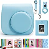 CAIUL 7 in 1 Fujifilm Instax Mini 8 8+ 9 Instant Film Camera Accessories Bundles (Blue Instax Mini 8 Case/ Mini Album/ Close-up Selfie Lens/Color Filters/ Wall Hang Frames/film Frame/ Film Stickers)
