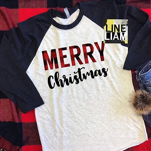 234ed77468be plaid merry raglan,merry and bright, womens christmas shirt, christmas shirt,  santa shirt, christmas raglan, womens tshirt, christmas tshirt, womens shirt,  ...