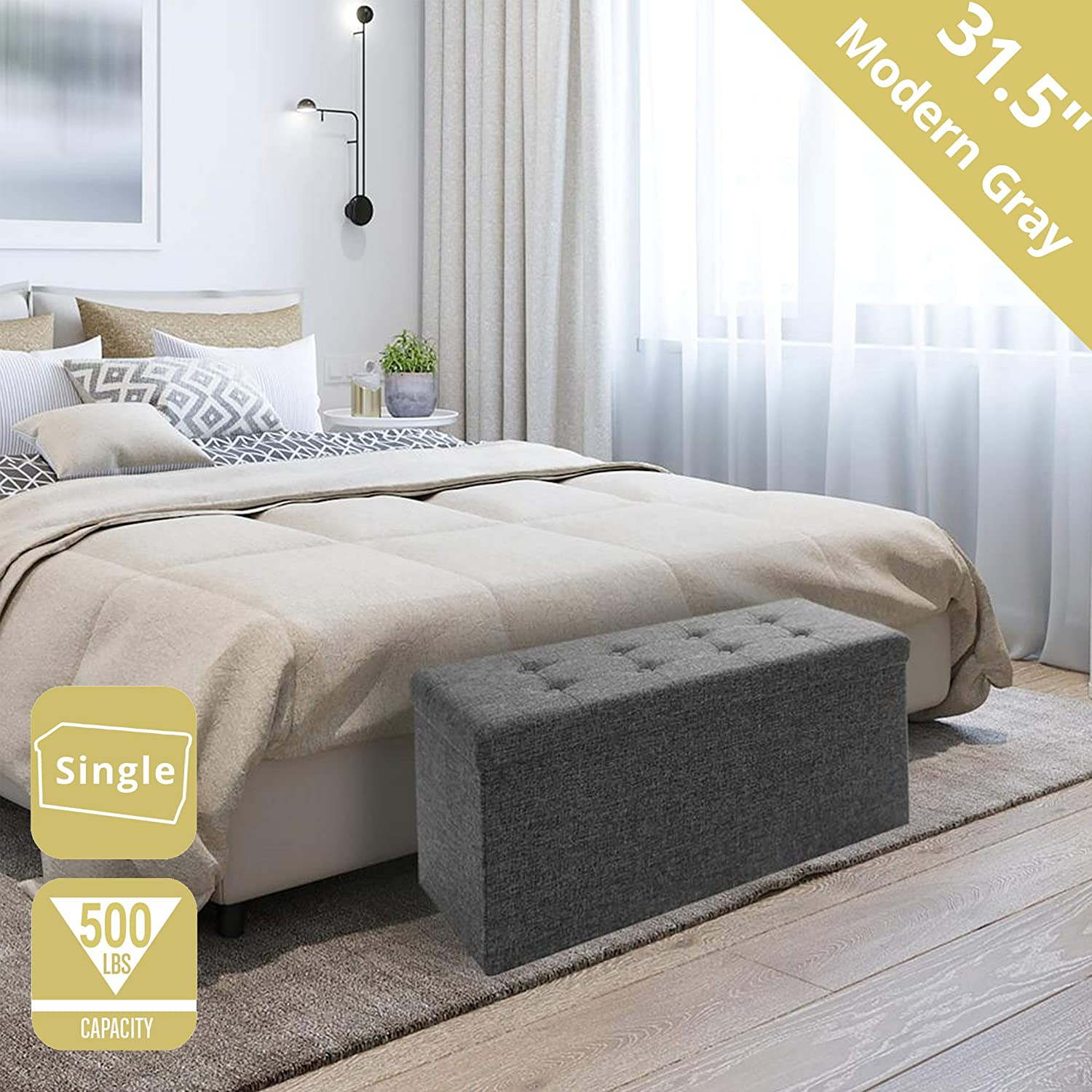 """Seville Classics 31.5"""" Foldable Tufted Storage Bench Footrest Toy Chest Coffee Table Trunk Ottoman, Single, Charcoal Gray: Kitchen & Dining"""