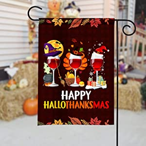 43LenaJon Wine Halloween Thanksgiving Christmas Garden Flag, Happy Hallothanksmas, Funny Drinking Flag, Liquor Lover Flag, Alcohol Drinking Wi