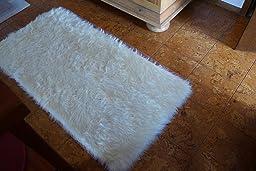 Schaffell teppich kunstfell waschbar 70 x 140 cm - Teppich cremefarben ...