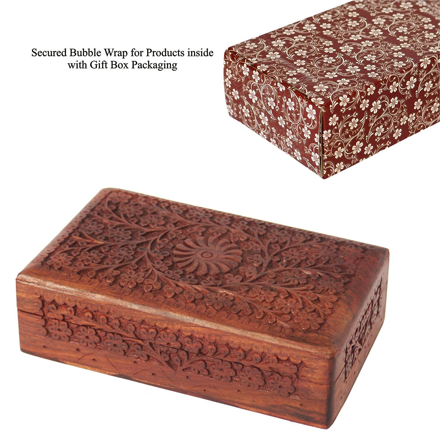 Hand Engraved Rosewood Decorative Jewelry Storage Box With Red Velvet Interiors Birthday or Anniversary Gift Ideas for Women