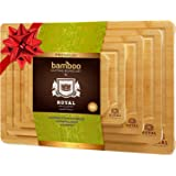 Organic Bamboo Cutting Board with Juice Groove (5-Piece Set) - Kitchen Chopping Board for Meat (Butcher Block) Cheese…