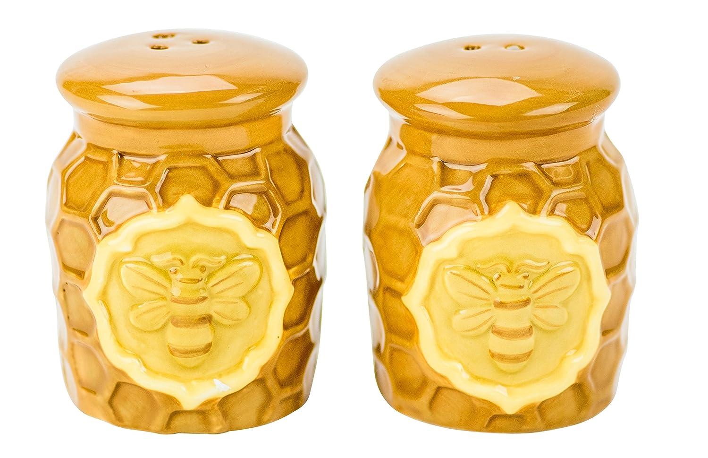 Boston Warehouse 35075 Honeycomb and Beehive Salt & Pepper Shakers, Honey