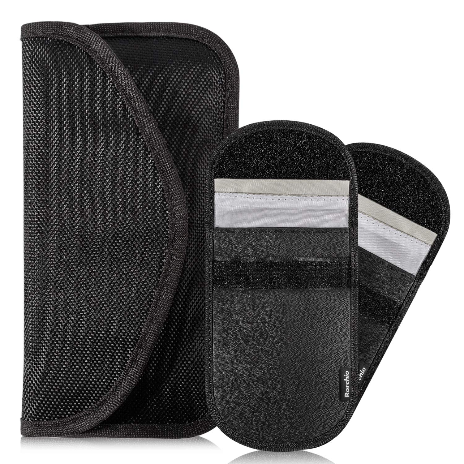 a67c7398d4 Rorchio Large Faraday Bag for Keyless Fobs Cell Phone and 2pcs Car Key  Signal Blocker Pouch RFID Blocking Credit Card Protector, PU Leather and  Polyester, ...