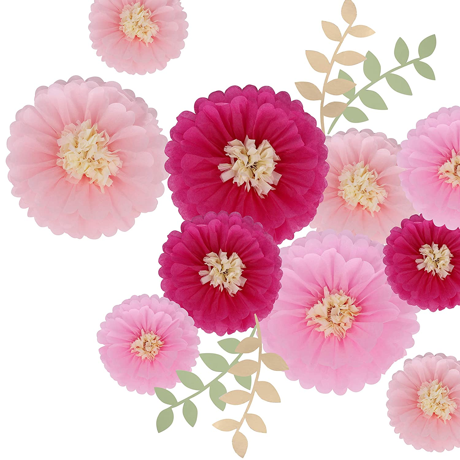 Wedding Backdrop Archway Centerpiece DOYOLLA 12 Pieces Pink Paper Flowers Tissue Paper Chrysanth Flower Decorations for Wall Nursery Wall Decoration