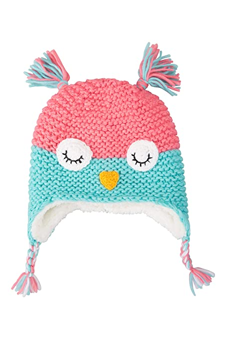 ff0fb753208ca3 Mountain Warehouse Owl Knitted Kids Winter Hat - Fleece Lined Beanie Teal