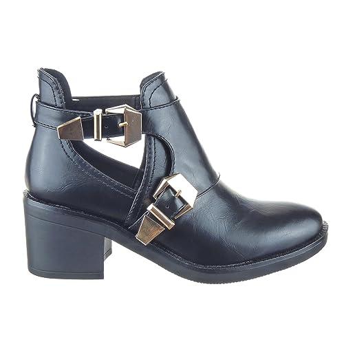 Sopily - Zapatillas de Moda Botines altas low boots A medio muslo mujer Hebilla Talón Tacón