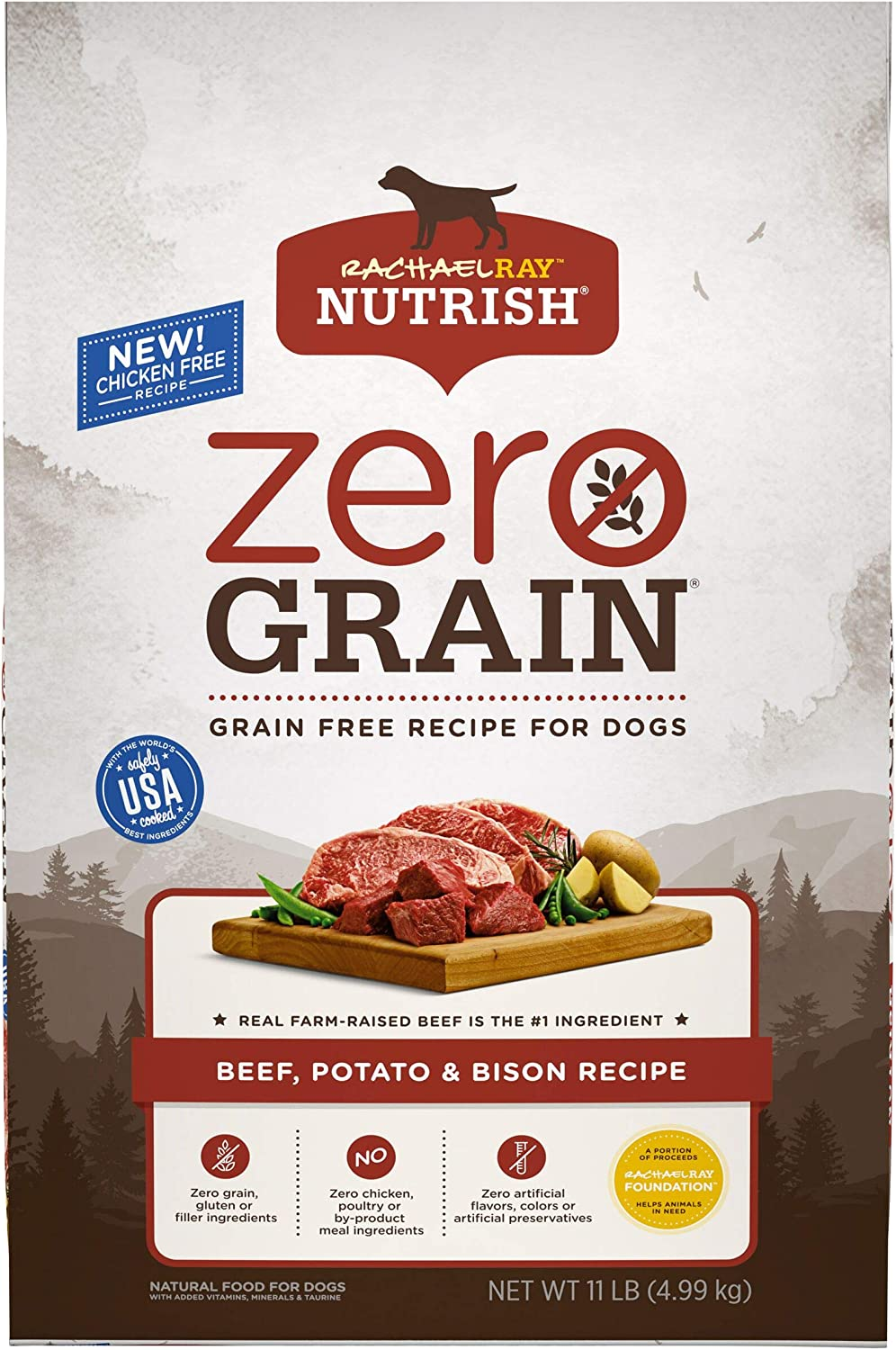 Rachael Ray Nutrish Zero Grain Dry Dog Food with Real Meat, Grain Free