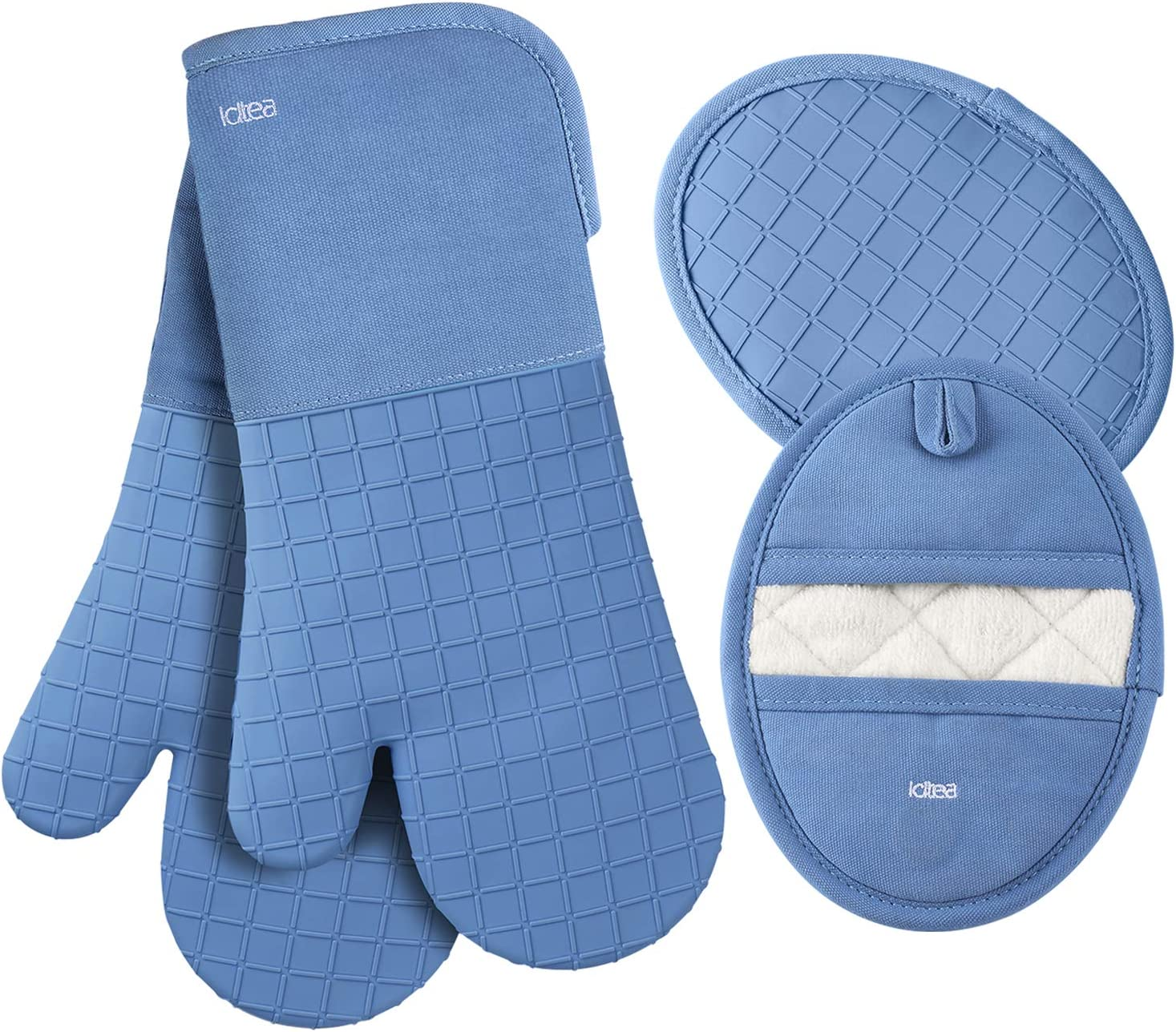 LDTEA Oven Mitts and Pot Holders Sets, 600°F Heat Resistant Platinum-Grade Silicone Oven Mitts, Soft Cotton Terry Oven Mitt, Anti-Slip Oven Gloves and Pot Holders for Kitchen, Baking, BBQ, 4 Pieces