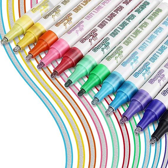 21 farben umriss metallische marker doppel linie stift schreiben malerei
