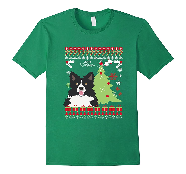 Border Collie Christmas Sweater T Shirt-RT