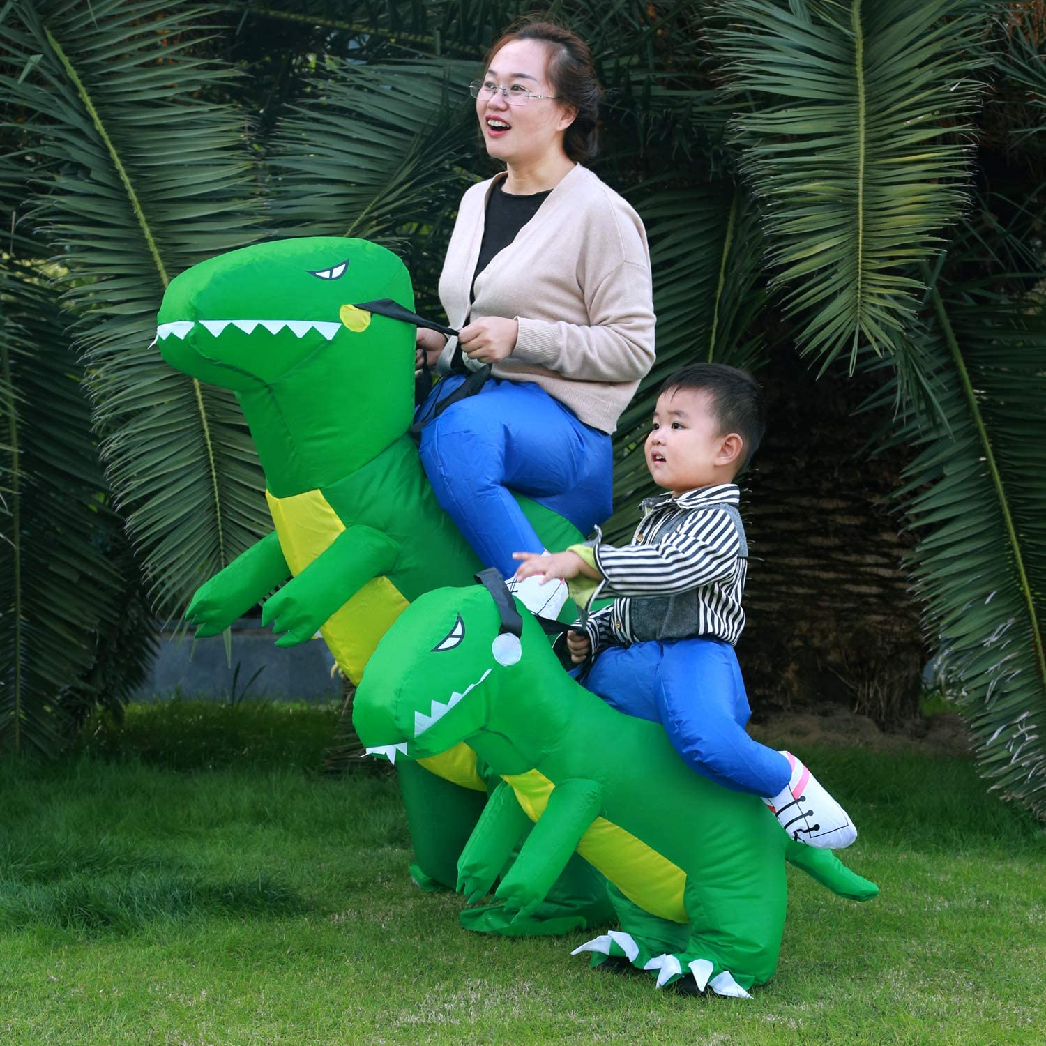 Adult Green Halloween T-Rex Costume Inflatable Dinosaur Suit Halloween Dino Theme Party Dress Blow Up Costume Adult//Child