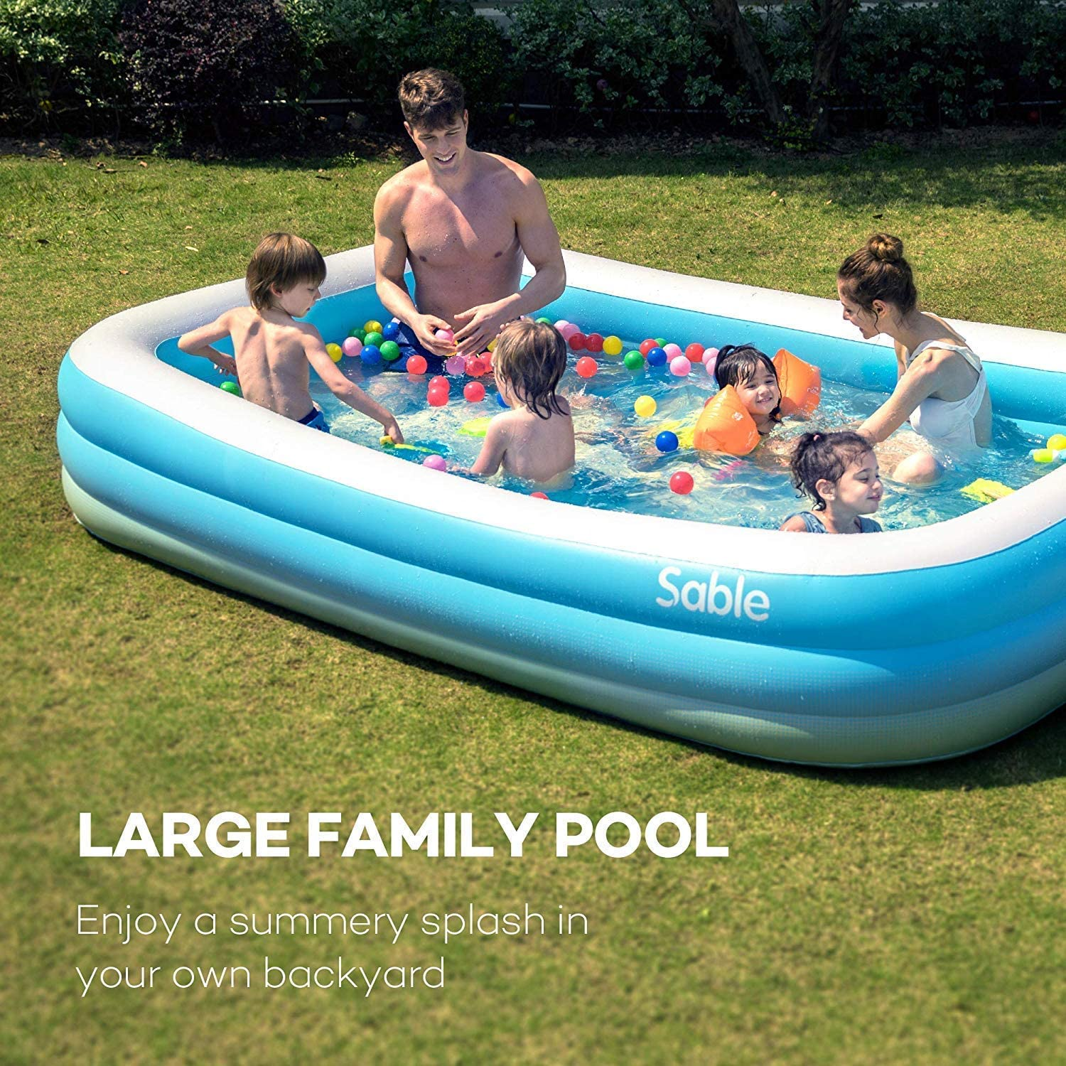 Sable Inflatable Pool, Blow Up Family Full-Sized Pool for Kids