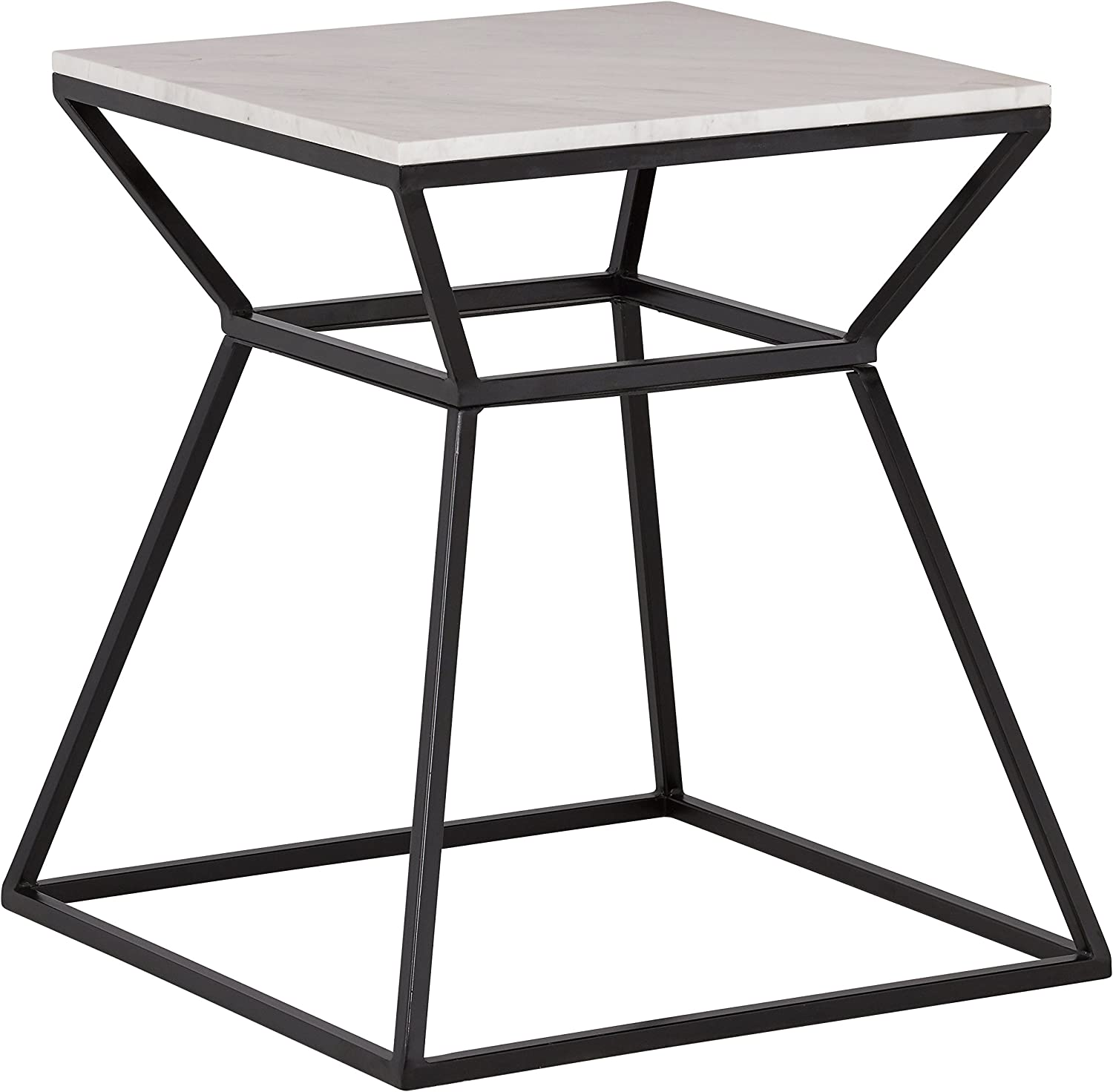 "Rivet Mid-Century Modern White Marble and Metal Side End Table, 22"", Black & Marble"
