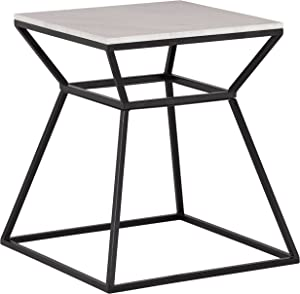 """Rivet Mid-Century Modern White Marble and Metal Side End Table, 22"""", Black & Marble"""