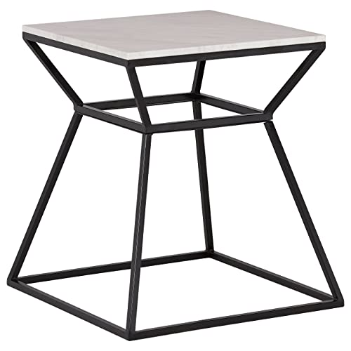 Rivet Mid-Century Modern White Marble and Metal Side End Table, 22 , Black Marble