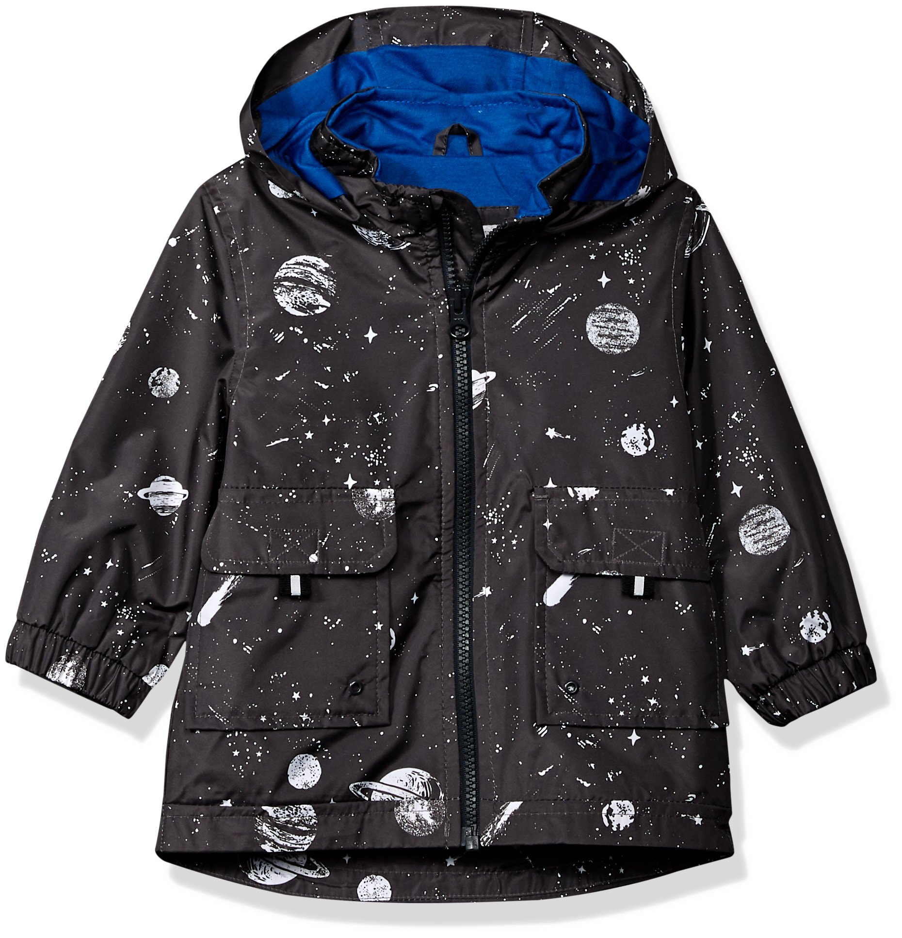 Carter's Baby Boys His Favorite Rainslicker Rain Jacket, Grey Space Print, 18M