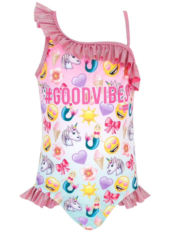 emoji Girls' Unicorn and Mermaid Swimsuit