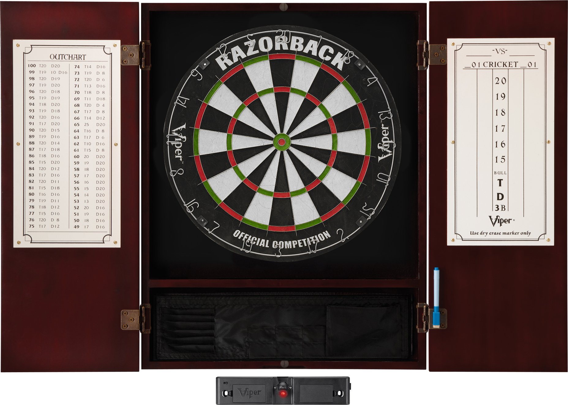 Viper Metropolitan Solid Wood Cabinet & Sisal/Bristle Dartboard Ready-to-Play Bundle: Elite Set (Razorback Dartboard, Darts and Laser Throw Line), Mahogany Finish