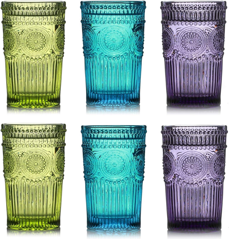 Kingrol 6 Pack Vintage Drinking Glasses, 12 oz Embossed Romantic Water Glassware, Glass Tumbler Set for Juice, Beverages, Beer, Cocktail