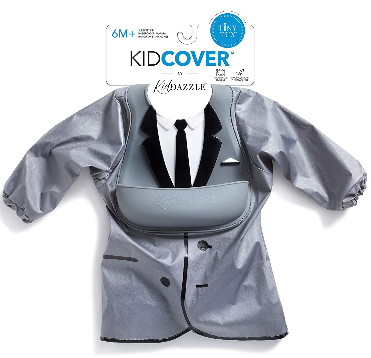 KidDazzle One-Piece Tiny Tux KidCover- Cute Silicone Baby Boy Bib - Adjustable Size - Waterproof and Stain Resistant to Baby Food - 6 Months and Older (Tiny Tux)