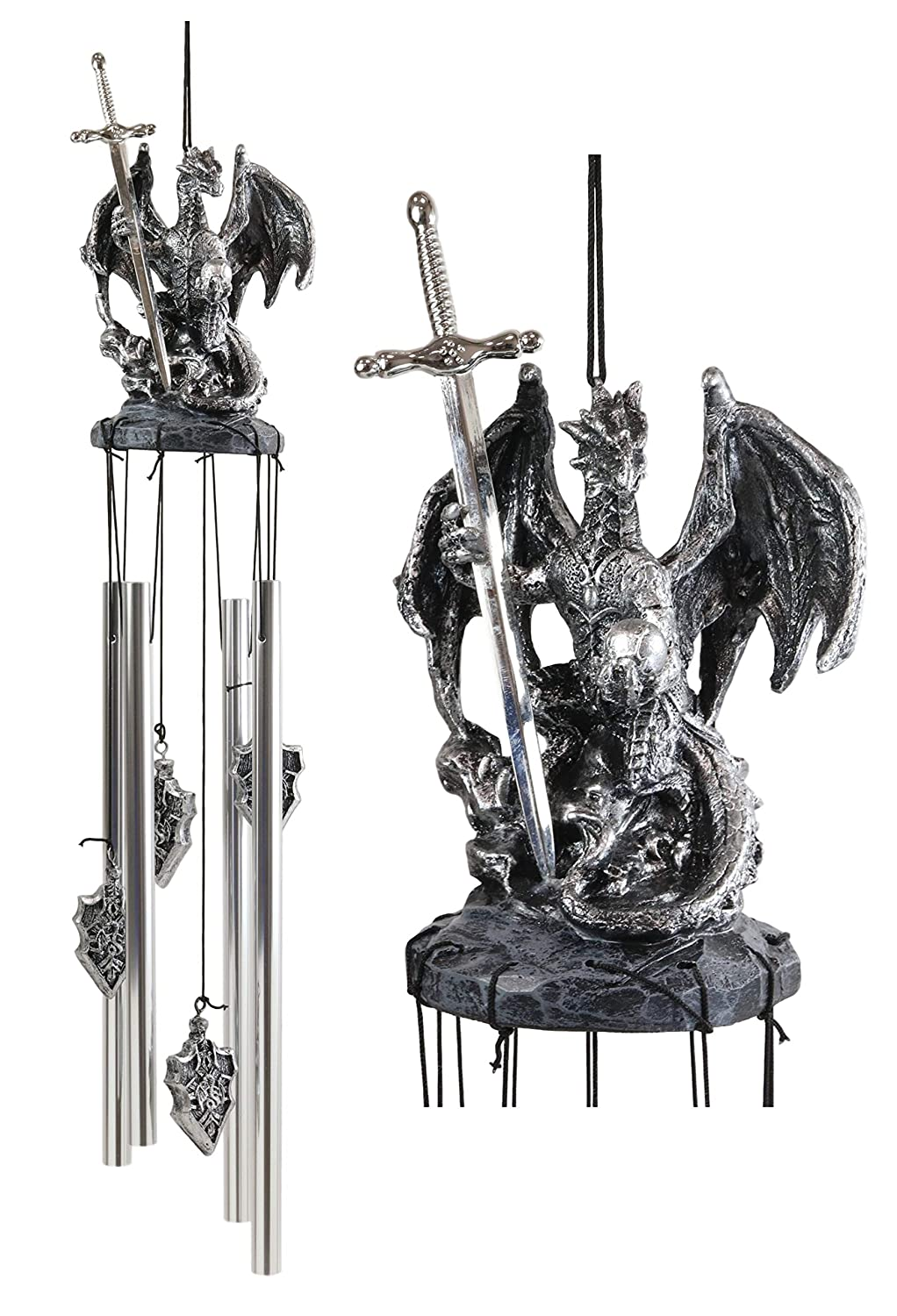 Ebros Gift Medieval Silver Dragon Holding Excalibur Sword and Orb Figurine Crown Top Resonant Wind Chime Garden Patio Home Fantasy Dungeons and Dragons Accent Decor