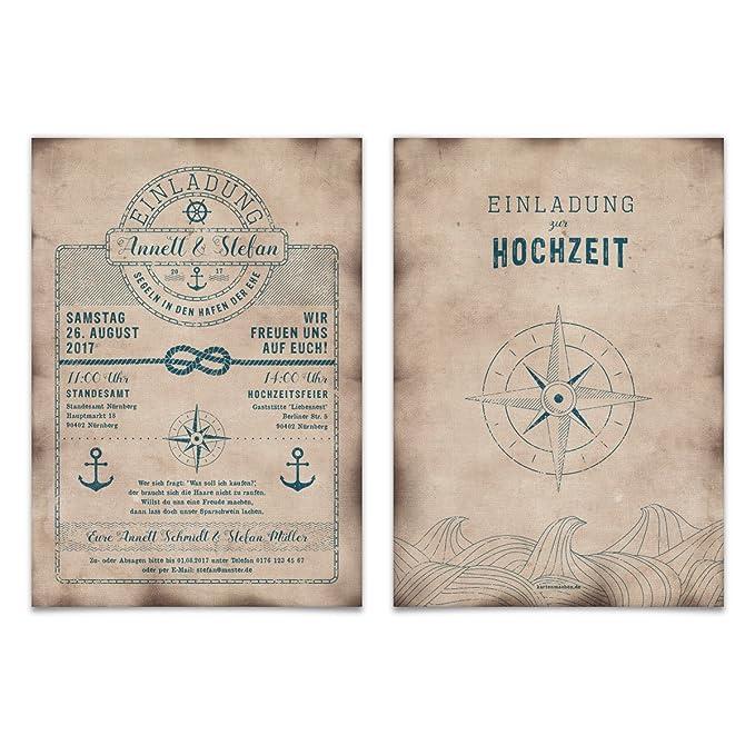 Hochzeit Einladungskarten (100 Stück) - Schatzkarte als Flaschenpost - Seemann Anker Einladung