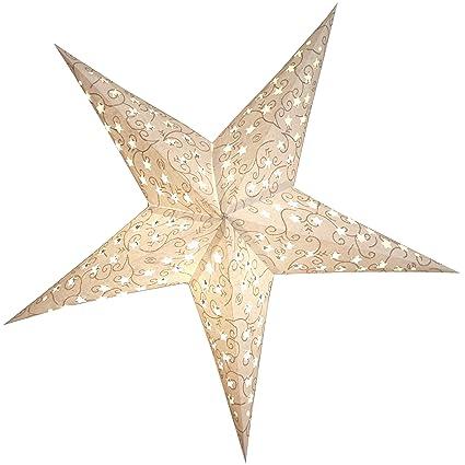 Stella Di Natale A 5 Punte.Brubaker Stella Di Natale Stella Di Carta Con 5 Punte Star Cutting Bianco Argento 60cm