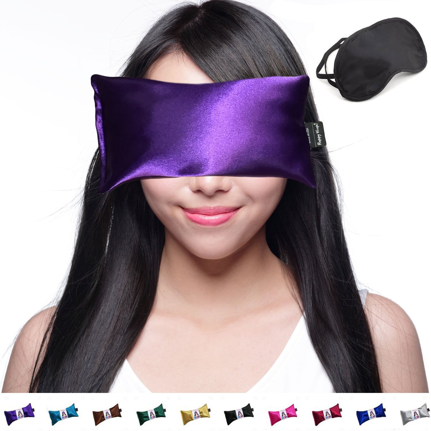 Happy Wraps Lavender Eye Pillow - Weighted Hot Cold Aromatherapy Lavender Eye Pillows for Yoga Sleeping Migraines Pain Stress Relief - Gifts for Christmas, Employees, Women - FREE Eye Mask - Amethyst by Happy Wraps