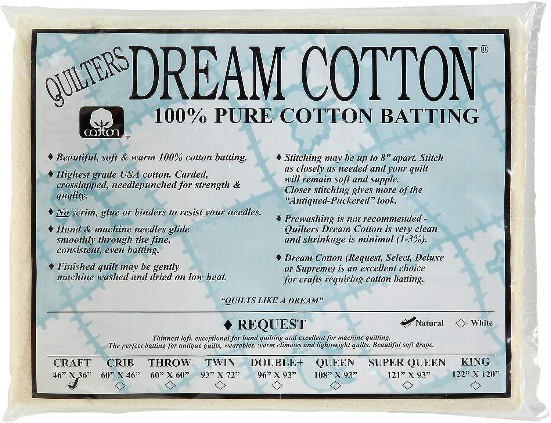 Quilters Dream Batting Natural Cotton Request Thin Loft Crib