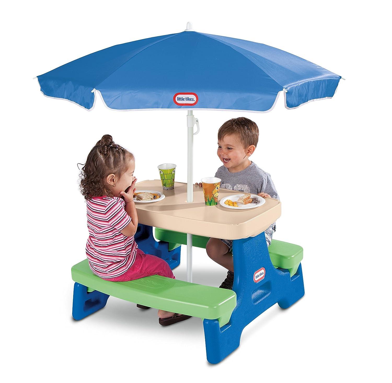 Amazon.com: Little Tikes Easy Store Junior Picnic Table With Umbrella,  Blue/Green: Toys U0026 Games
