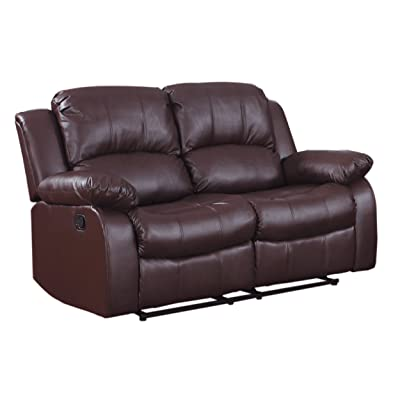 Amazon Com Homelegance Double Reclining Loveseat Brown Bonded Leather Kitchen Amp Dining