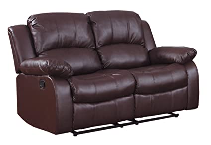 Prime Homelegance Resonance 60 Bonded Leather Double Reclining Loveseat Brown Machost Co Dining Chair Design Ideas Machostcouk