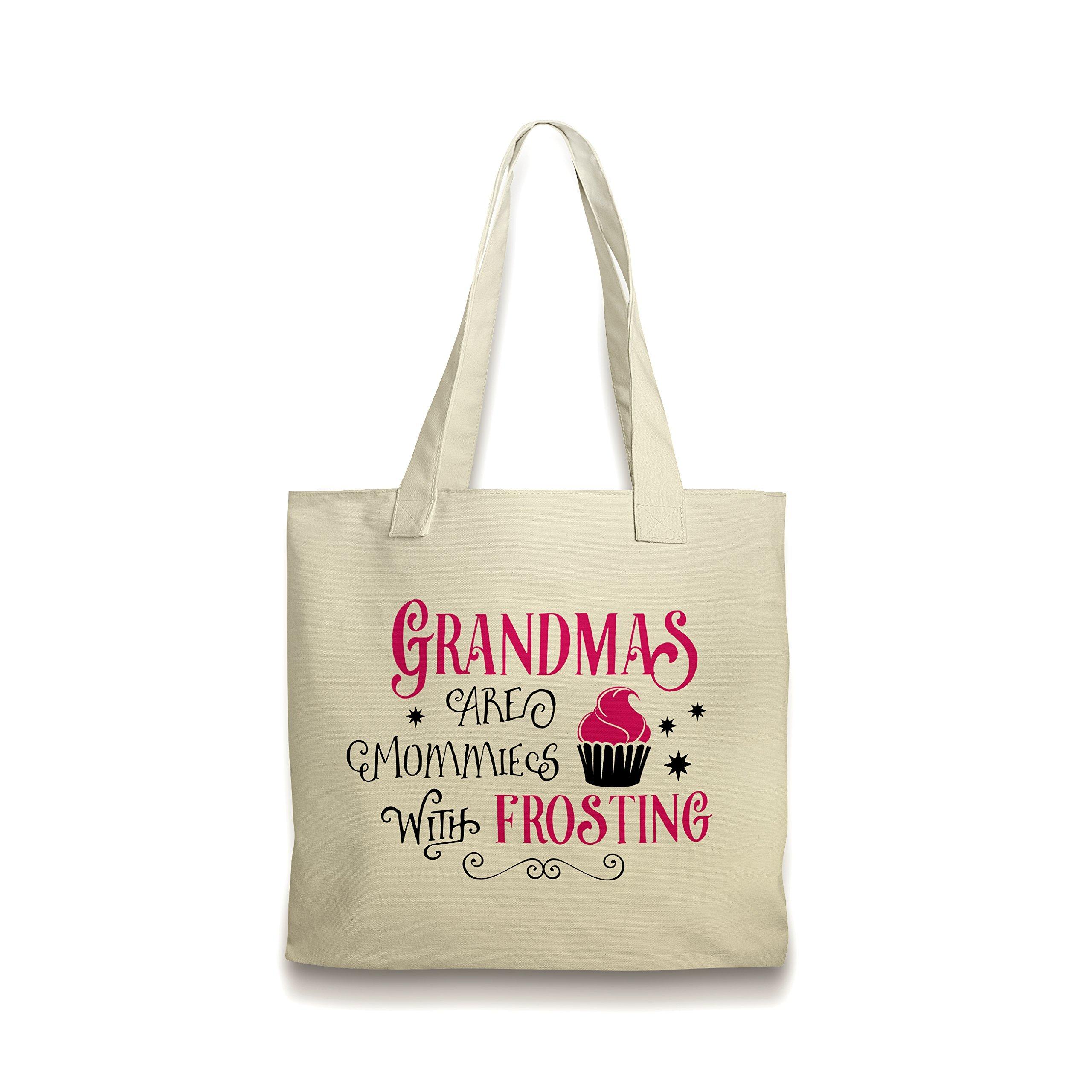 Grandma Tote Bag Canvas Pink Cupcake Frosting Gift for Grandmother by Joyful Moose