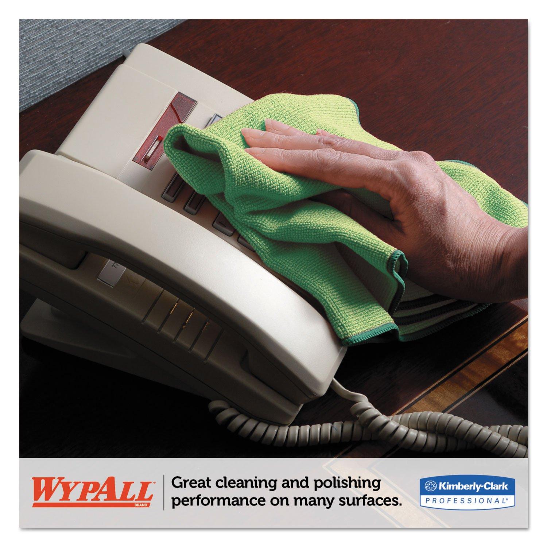 WypAll 83630 Microfiber Cloths, Reusable, 15 3/4 x 15 3/4, Green, 6/Pack