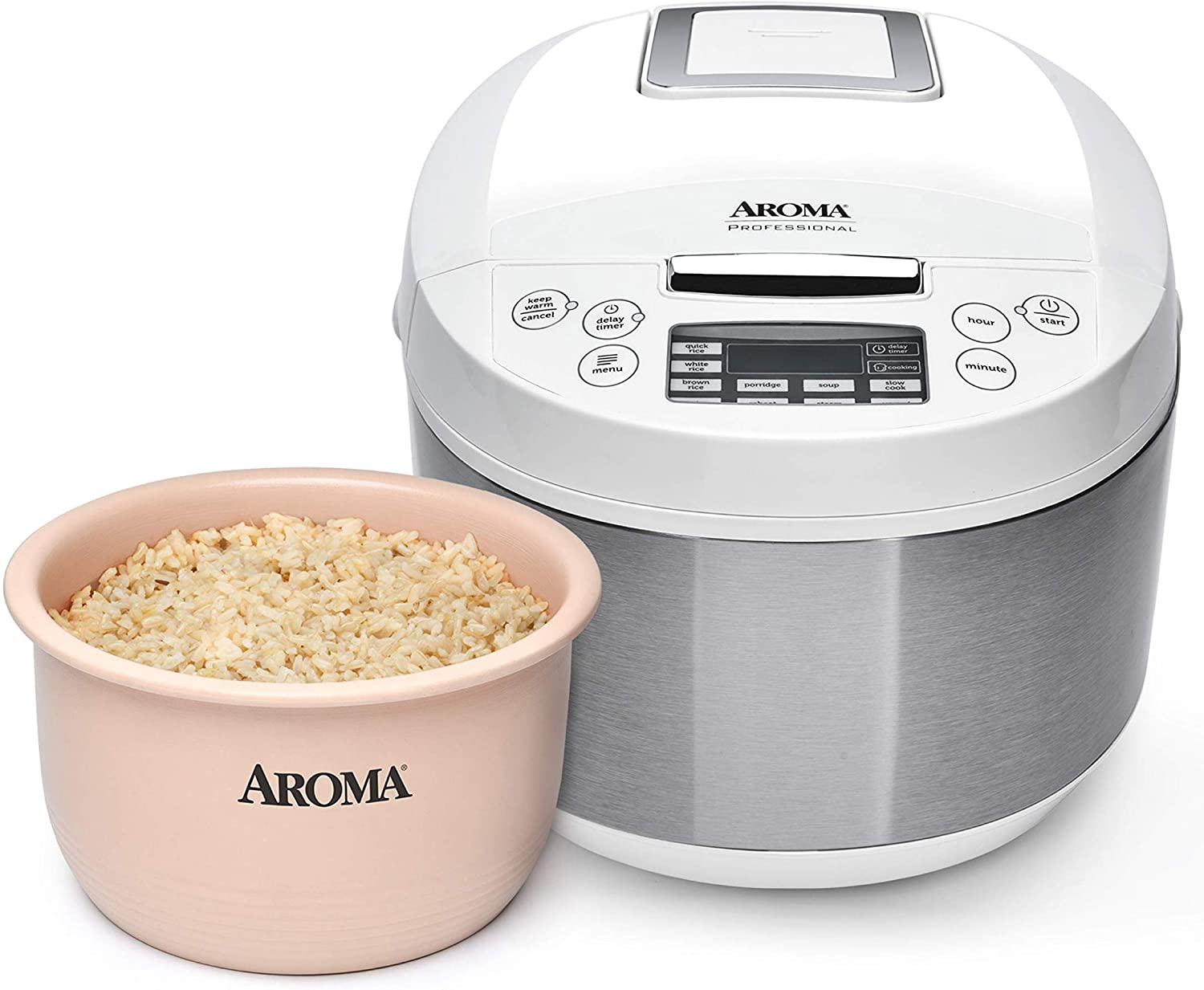 Aroma Housewares ARC-6206C Professional Digital Rice Cooker & Multicooker with Ceramic Inner Pot, Steam Basket Included, 12-Cup cooked / 4Qt, White