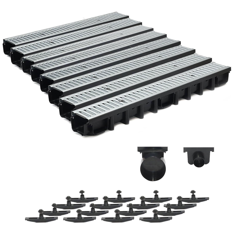 8m Entwässerungsrinne Terrassenrinne Stahlrost verzinkt komplett SET, System A15 98mm