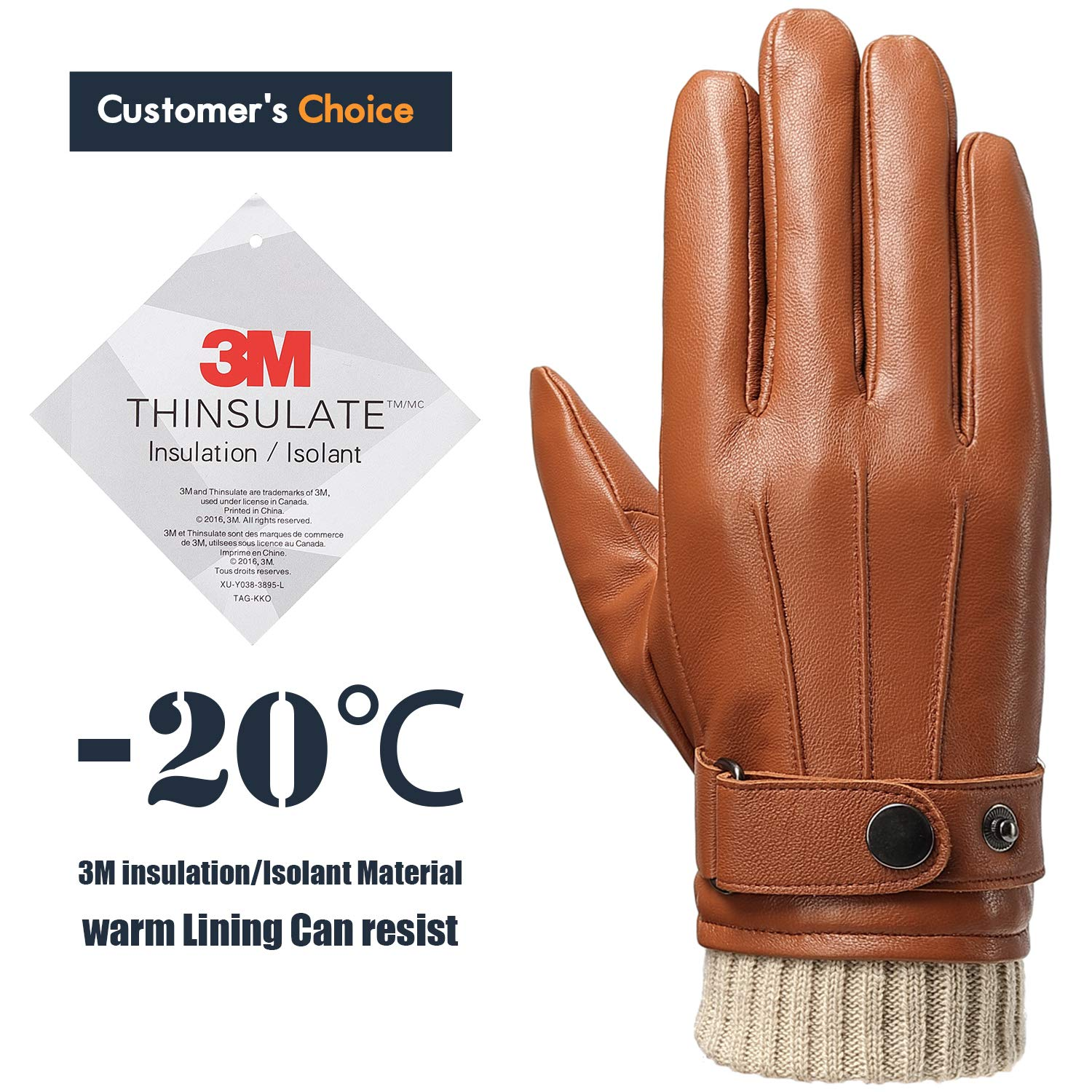 Men Leather Gloves Winter Gloves Fullhand Touchscreen Gloves with Gift Box Top Lambskin Windproof Light Brown gloves M