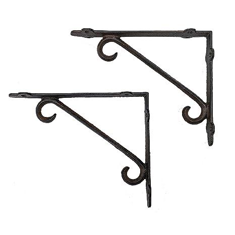 Hooks, Brackets & Curtain Rods Set of 4 Cast Iron Shelf Brackets New Antique-Style FANCY 9 1/2 x 9 1/2 Architectural & Garden