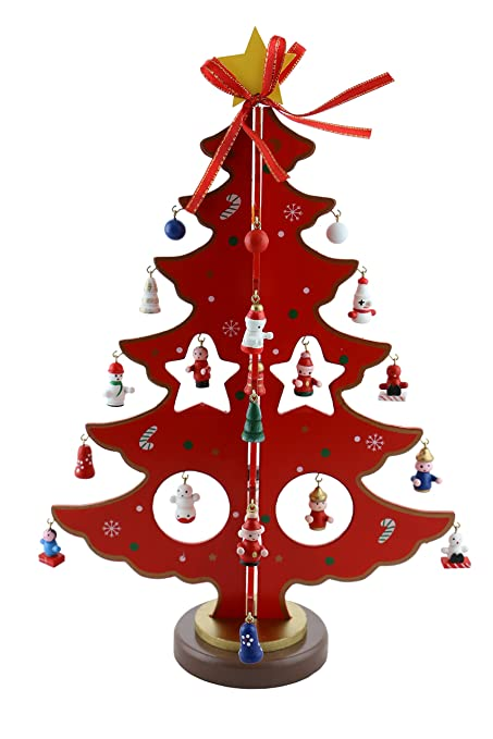 Amazon Com Red Wooden Christmas Tree With Ornaments And Yellow Star