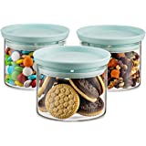 Godinger Food Storage Containers, Stackable Organization Canister Glass Jars - Small, Set of 3
