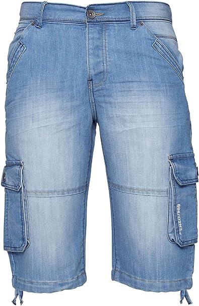 Mens Crosshatch Denim Cargo Shorts Designer Jeans Cargo Casual 3//4 Knee Length